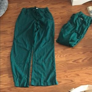 2 pairs of hunter green greys anatomy scrub pants